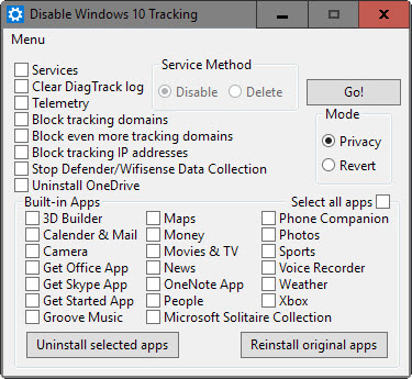 disable windows tracking