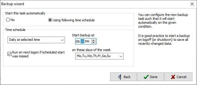 Personal Backup scheduled task
