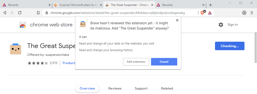 brave extensions chrome warning
