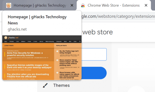 google chrome tab preview