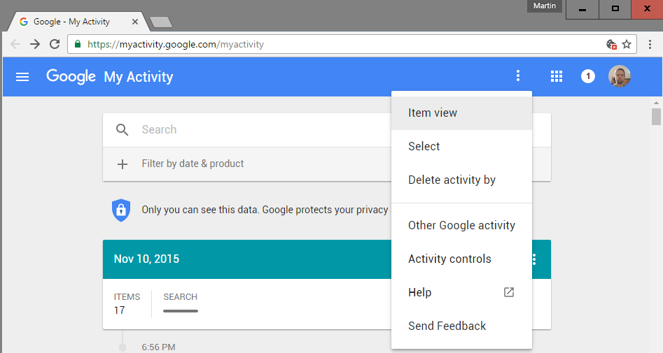 manage google activity