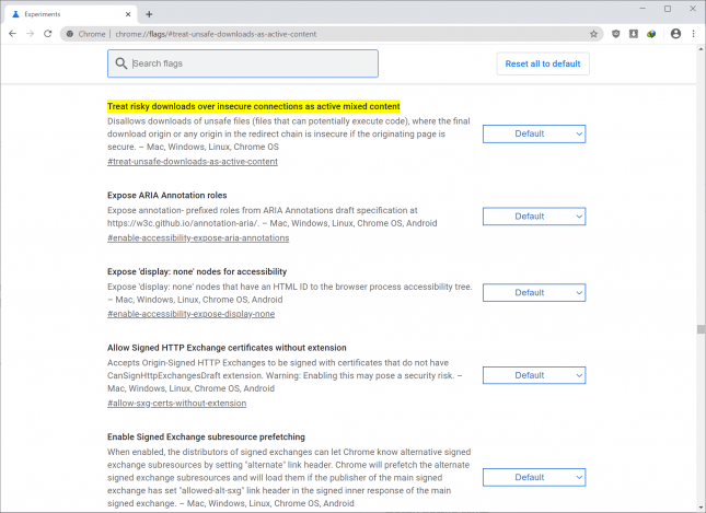 chrome insecure downloads